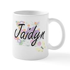 Jaidyn Artistic Name Design with Flowers Mugs