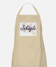 Jakayla Artistic Name Design with Flowers Apron