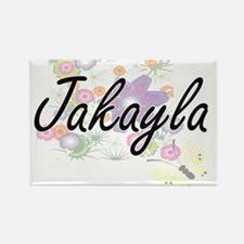 Jakayla Artistic Name Design with Flowers Magnets