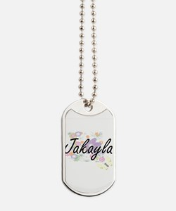 Jakayla Artistic Name Design with Flowers Dog Tags