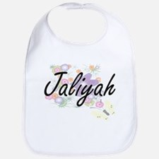 Jaliyah Artistic Name Design with Flowers Bib