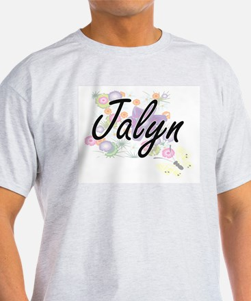 Jalyn Artistic Name Design with Flowers T-Shirt