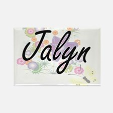 Jalyn Artistic Name Design with Flowers Magnets