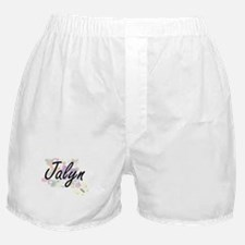 Jalyn Artistic Name Design with Flowe Boxer Shorts