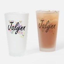 Jalynn Artistic Name Design with Fl Drinking Glass