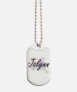 Jalynn Artistic Name Design with Flowers Dog Tags
