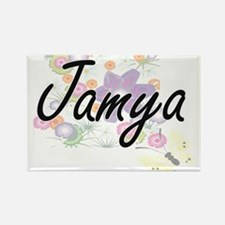 Jamya Artistic Name Design with Flowers Magnets