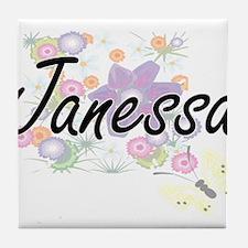 Janessa Artistic Name Design with Flo Tile Coaster