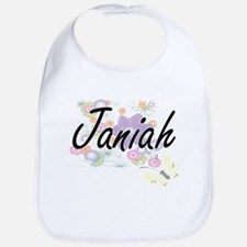 Janiah Artistic Name Design with Flowers Bib