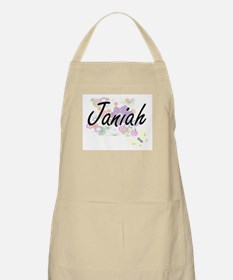 Janiah Artistic Name Design with Flowers Apron