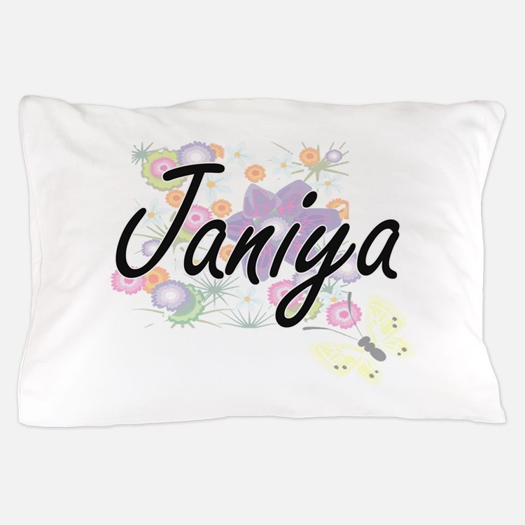 Janiya Artistic Name Design with Flowe Pillow Case
