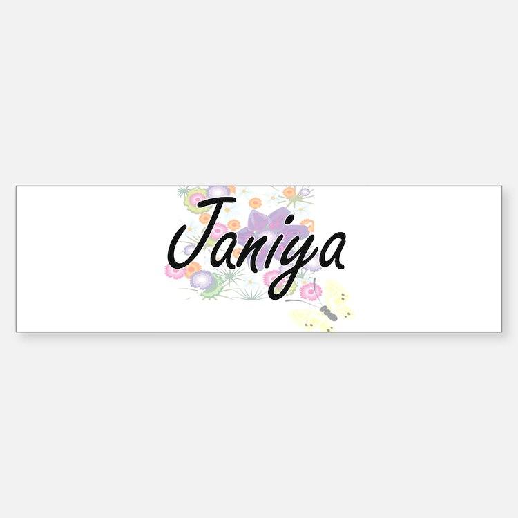 Janiya Artistic Name Design with Fl Bumper Bumper Bumper Sticker