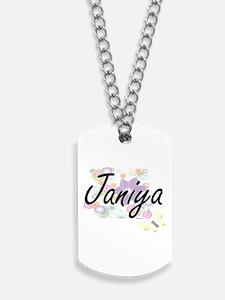 Janiya Artistic Name Design with Flowers Dog Tags