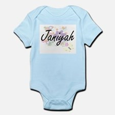 Janiyah Artistic Name Design with Flower Body Suit