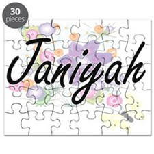 Janiyah Artistic Name Design with Flowers Puzzle