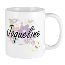 Jaqueline Artistic Name Design with Flowers Mugs