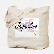Jaqueline Artistic Name Design with Flowe Tote Bag
