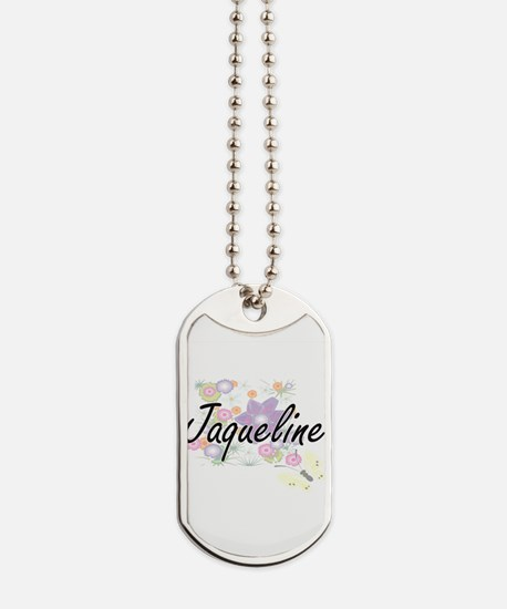 Jaqueline Artistic Name Design with Flowe Dog Tags