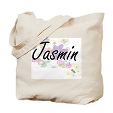 Jasmin Artistic Name Design with Flowers Tote Bag