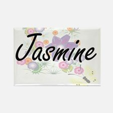 Jasmine Artistic Name Design with Flowers Magnets