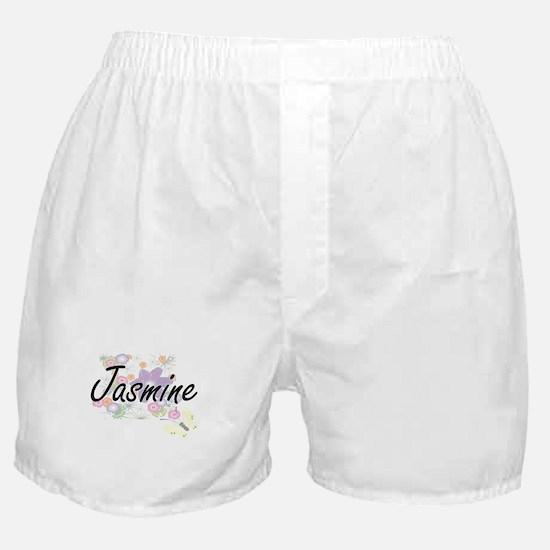 Jasmine Artistic Name Design with Flo Boxer Shorts