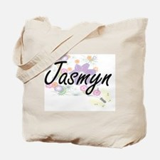 Jasmyn Artistic Name Design with Flowers Tote Bag