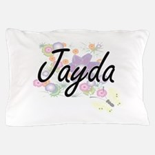 Jayda Artistic Name Design with Flower Pillow Case