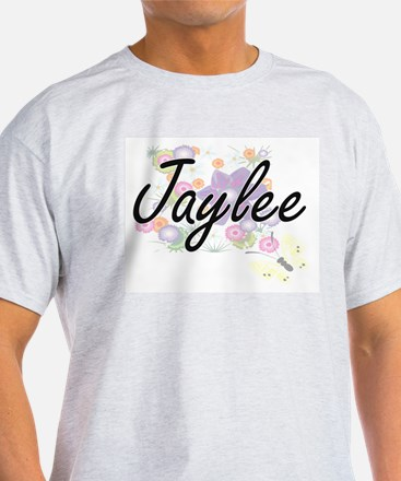 Jaylee Artistic Name Design with Flowers T-Shirt