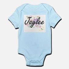 Jaylee Artistic Name Design with Flowers Body Suit