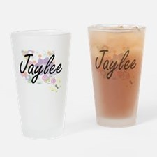 Jaylee Artistic Name Design with Fl Drinking Glass