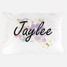 Jaylee Artistic Name Design with Flowe Pillow Case