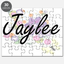 Jaylee Artistic Name Design with Flowers Puzzle