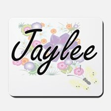Jaylee Artistic Name Design with Flowers Mousepad