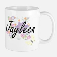 Jayleen Artistic Name Design with Flowers Mugs