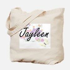 Jayleen Artistic Name Design with Flowers Tote Bag