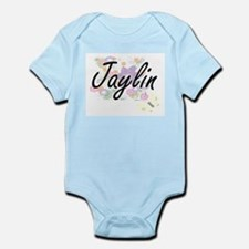 Jaylin Artistic Name Design with Flowers Body Suit