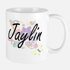 Jaylin Artistic Name Design with Flowers Mugs
