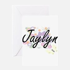 Jaylyn Artistic Name Design with Fl Greeting Cards