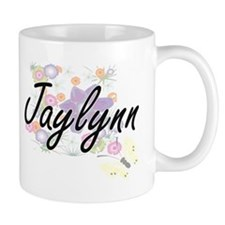 Jaylynn Artistic Name Design with Flowers Mugs