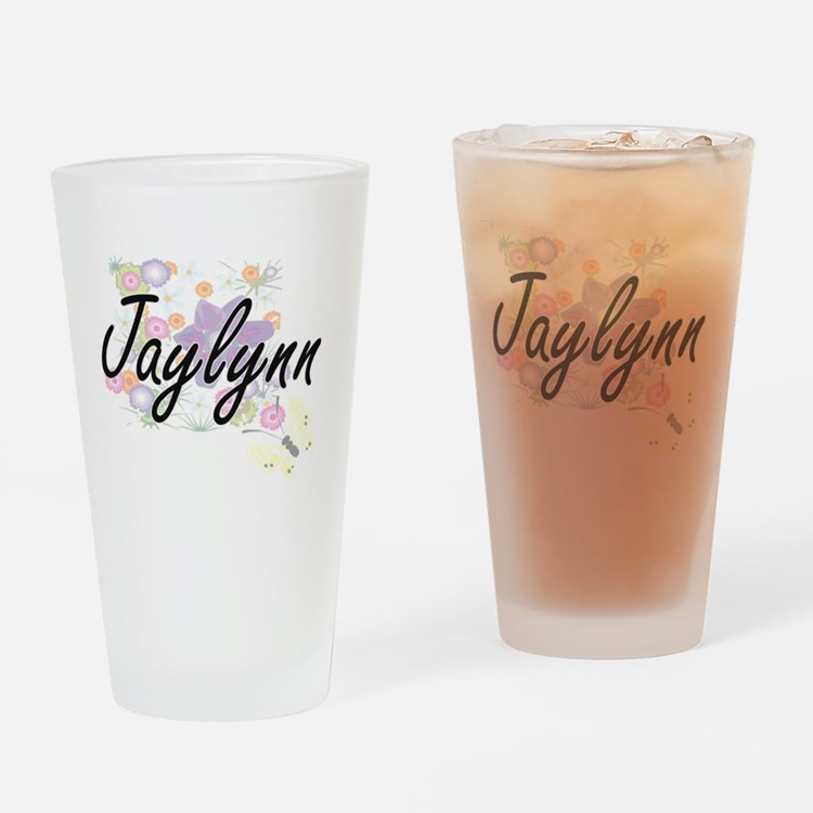 Jaylynn Artistic Name Design with F Drinking Glass