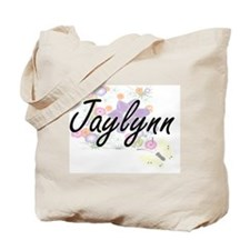 Jaylynn Artistic Name Design with Flowers Tote Bag