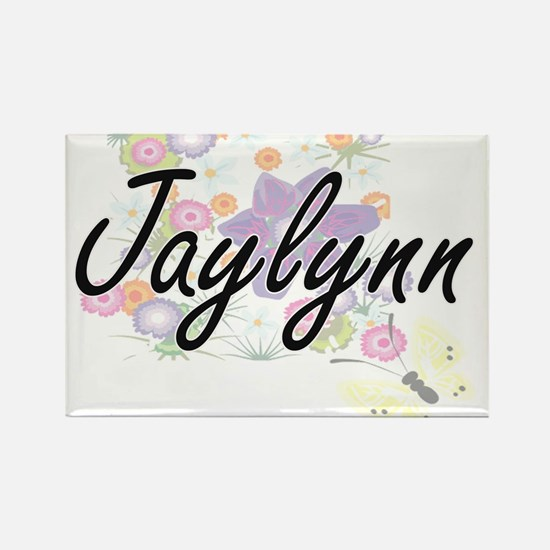 Jaylynn Artistic Name Design with Flowers Magnets