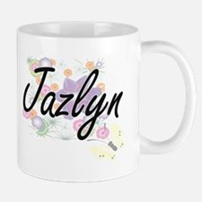 Jazlyn Artistic Name Design with Flowers Mugs