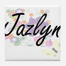 Jazlyn Artistic Name Design with Flow Tile Coaster