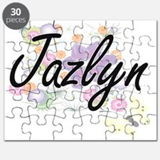 Jazlyn Artistic Name Design with Flowers Puzzle