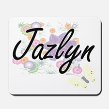 Jazlyn Artistic Name Design with Flowers Mousepad