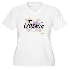 Jazmin Artistic Name Design with Plus Size T-Shirt