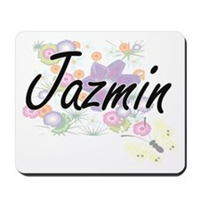 Jazmin Artistic Name Design with Flowers Mousepad