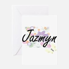 Jazmyn Artistic Name Design with Fl Greeting Cards