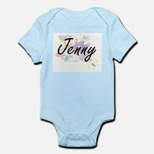Jenny Artistic Name Design with Flowers Body Suit
